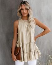 Summer Solid Color ärmelloses Flare Shirt
