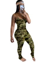 Sexy Camou Straps Bodycon Overall