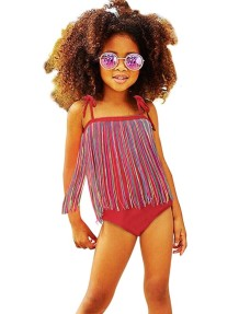 Mom and Daughter One Piece Straps Fringe Swimwear(Daughter)