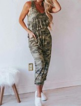 Summer Sleeveless Camou Jumpsuit