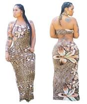 Abito lungo allacciato sexy con stampa leopardo estivo