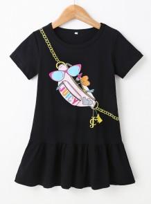 Crianças menina verão impressão vestido camisa preta