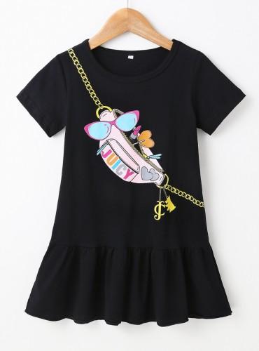 Robe-chemise noire pour fille d'été pour enfants
