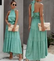 Summer Low Back Dot Print Halter Long Dress