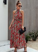 Vestido largo de fiesta con estampado floral de verano