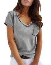 Sommer-Basic-Shirt mit V-Ausschnitt