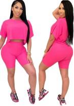 Conjunto de pantalones cortos de verano de dos piezas en color liso