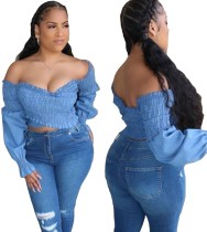 Sexy Sweetheart Wrapped Denim Crop Top