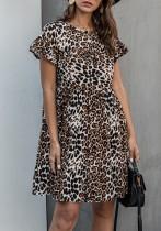 Sommer Leopardenmuster A-Linie Kurzes Kleid