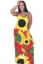 Yazlık Askılı Çiçekli Uzun Maksi Elbise