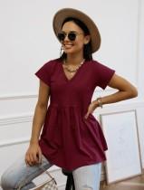 Summer Sheer Schößchenhemd mit V-Ausschnitt