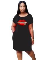 Sommer Print Long Shirt Kleid