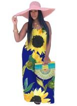Vestido largo largo con tirantes florales de verano