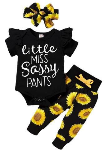 Set di pantaloni a tre pezzi floreali estivi per bambina