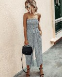 Summer Print Strapless Wide Legges Jumpsuit