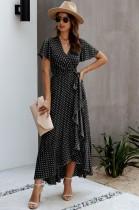 Sommer Polka Dot Wrapped Long Dress