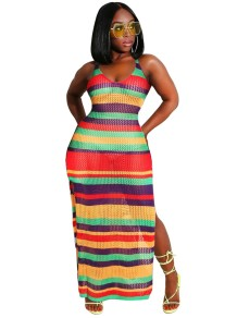 Sexy Colorful Fishnet Long Slit Beach Dress