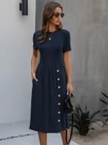 夏のカジュアル薄手のOネックロングドレス