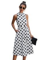 Yaz Puantiyeli Kolsuz Uzun Vintage Elbise