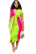 Sommer Sexy Kontrast V-Ausschnitt Midi-Kleid