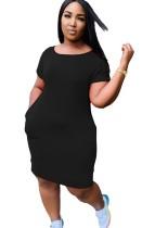 Sommer O-Neck Sheer Shirt Kleid