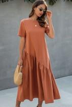 Летнее однотонное длинное платье Boho