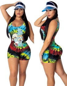 Summer Sporty Sexy Tie Dye Bodycon Rompers