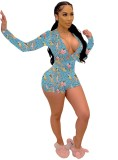 Print Sexy Deep-V Bodycon Rompers with Sleeves