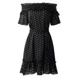 Summer Off the Shoulder Polka Skater Dress