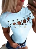 Camisa básica de verano con cuello redondo y cordones