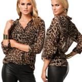 Blusa elegante de manga larga con estampado de leopardo