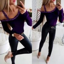 Sexy Beaded Irregular Long Sleeve Shirt