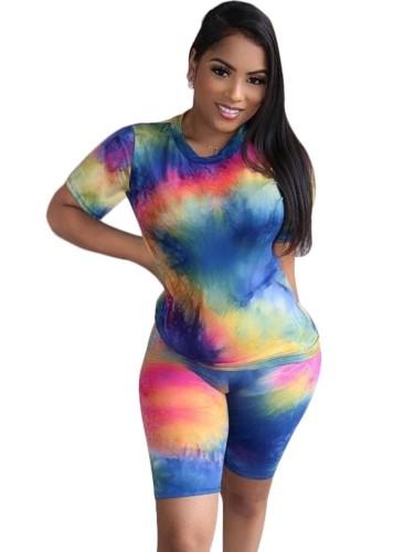 Summer Sexy Tie Dye Two Piece Shorts Set