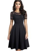 Spitze Obere Plissee Vintage Prom Kleid