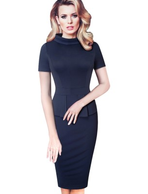Sheer Office Peplum - Robe fourreau sans manches à manches courtes