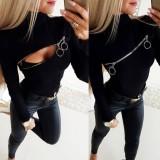 Camisa negra con cremallera de manga larga sexy