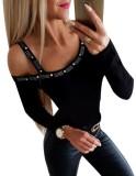Camisa de manga larga irregular con cuentas sexy
