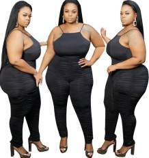 Plus Size Black Straps Stacked Bodycon Jumpsuit