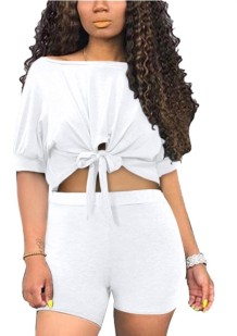 Summer Sexy Two Piece Knot Shorts Set