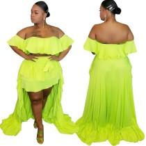 Plus size sexy neon tweedelige lange rok set