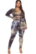 Plus Size Tie Dye Sexy tweedelige fit broek set