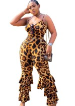 Plus size sexy leopardo correias macacão flare