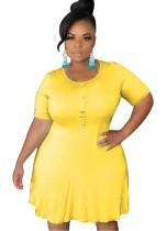 Plus Size Sheer Casual Short Dress