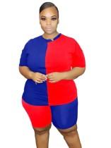 Conjunto de pantalones cortos de dos piezas con contraste de verano talla grande