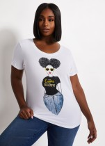 Plus Size Summer Print Weißes Rundhals-Shirt