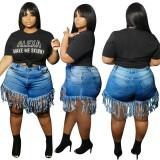 Pantalones cortos de mezclilla con borlas sexy de cintura alta de talla grande