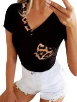 Chemise basique d'été à col en V et imprimé léopard