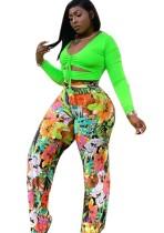 Büyük Beden Neon Kırpma Üst ve Çiçekli Pantolon Takım