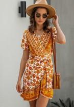 Zomer romantische bloemen gewikkeld jurk