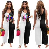 Summer Print Contrast Sleeveless Loose Jumpsuit
